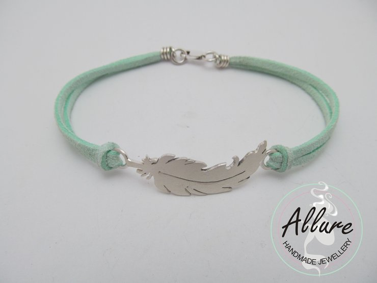 Sterling Silver Feather, with leather band by Allure Handmade Jewellery