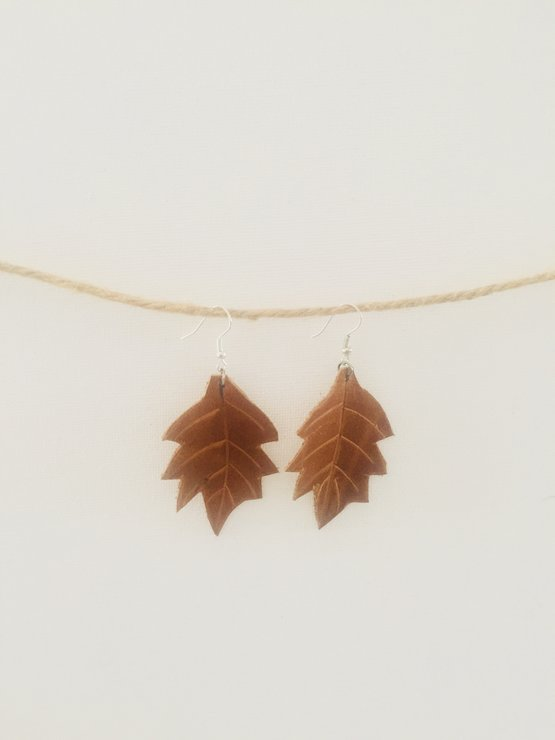 Leather Leaf earrings by Ginger Grey