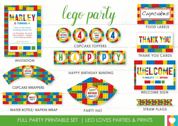 picture about Lego Party Printable referred to as Lego Social gathering Printable Established