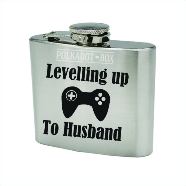 levelling up to husband 147ml Stainless Steel Flask  by Polkadot Box