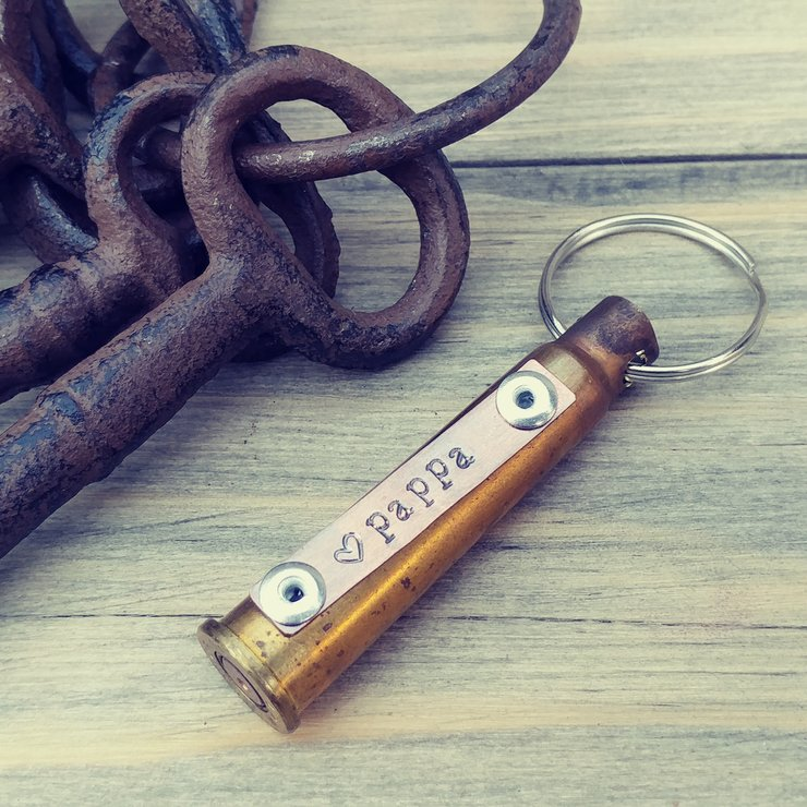 Daddy/Pappa - Up-cycled shell casing key ring with hand stamped copper plate – father's day gift – gift for hunter – gift for him by Trinket Treasure