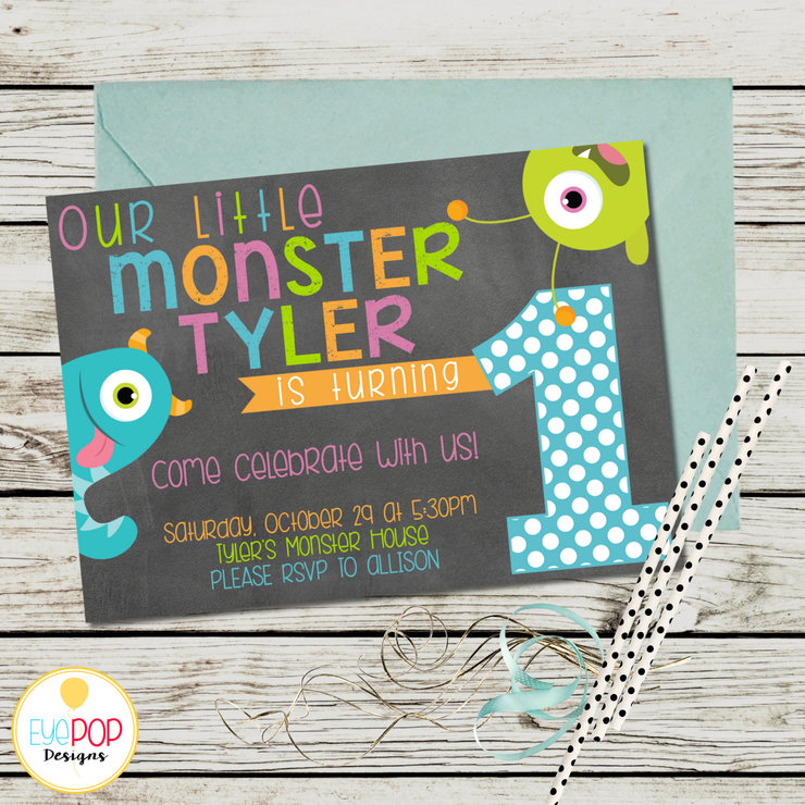 Little Monster Birthday Invitation First 1st Chalkboard Halloween Printable