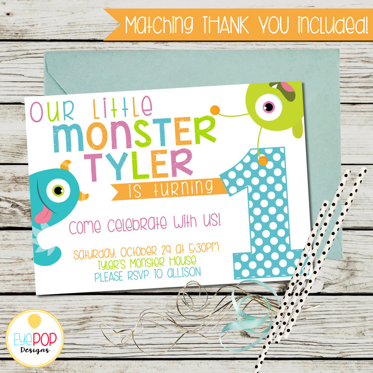 Little Monster Birthday Invitation First 1st White Halloween Printable