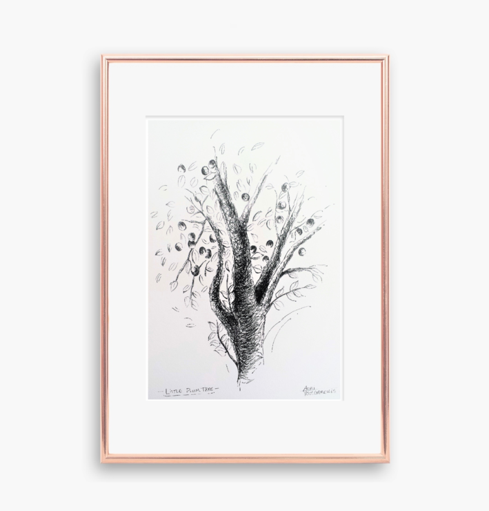 Original Art, Little Plum Tree Pen Drawing, Size A4. Small Wall Art for Nature Lovers made by Cape Town Artist, Adri Voulgarellis by WHISP by Adri