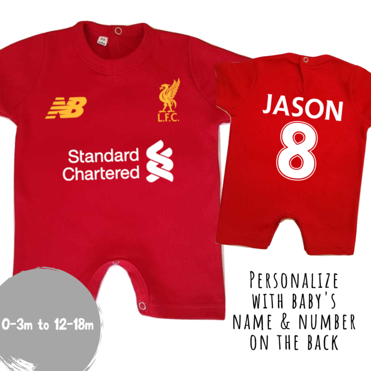 PERSONALISED LIVERPOOL FC Champions 19/20 Season Baby Romper with NAME & NUMBER/ Baby Clothes /Liverpool baby outfit/ Liverpool Baby Shower Gift / LFC 19/20 Season Kit by Little Lion Cub Studio