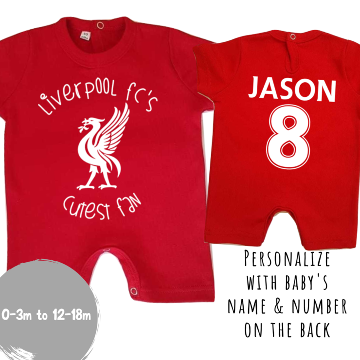 PERSONALISED LIVERPOOL FC Baby Romper with NAME & NUMBER/Liverpool FC's Cutest Fan Romper/ Liverpool Baby Clothes /Baby Shower Gift by Little Lion Cub Boutique