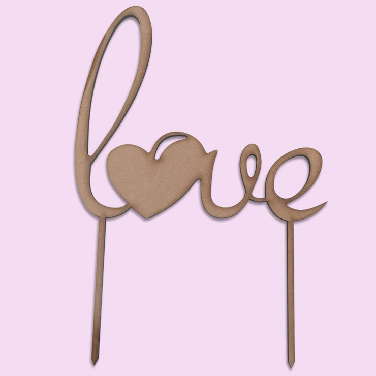 Love Cake Topper (Wood or Acrylic) by Polkadot Box