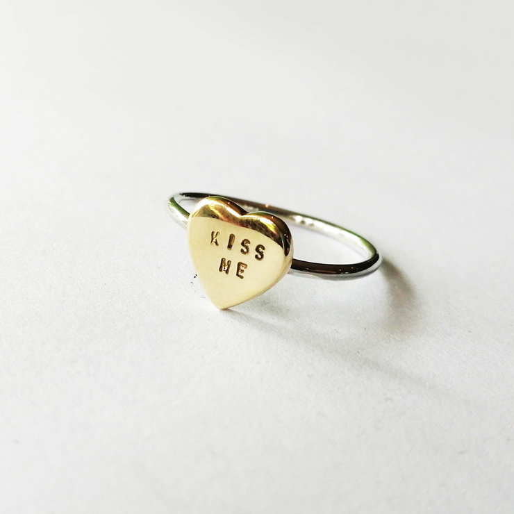 LOVE HEART Ring in Brass by Miss H Jewellery Design