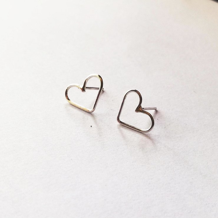 LOVE Stud Earrings Silver by Miss H Jewellery Design