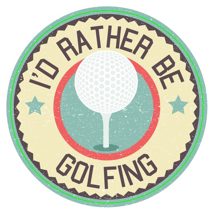 LICENSE STICKER RATHER BE GOLFING (M0105) by Miss Magpie