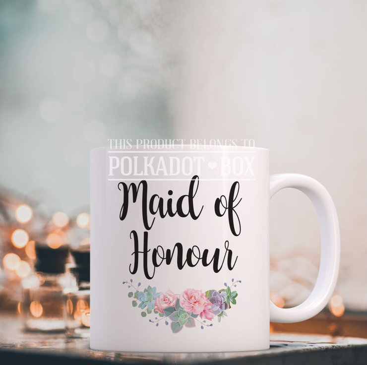 Floral Maid of Honour Mug by Polkadot Box