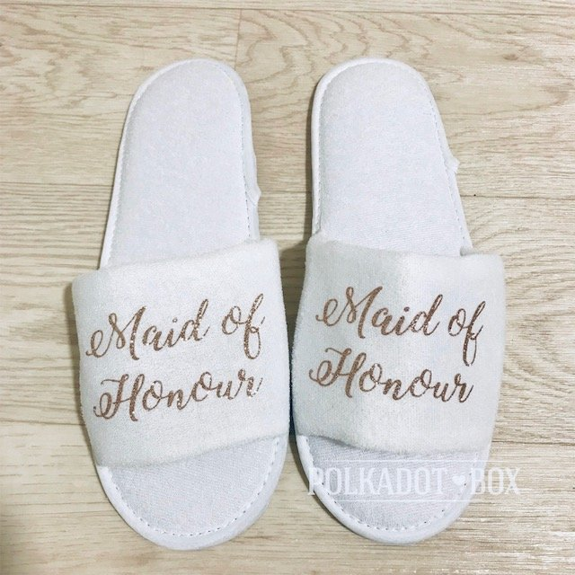 Glitter Maid of Honour Wedding Slippers  by Polkadot Box