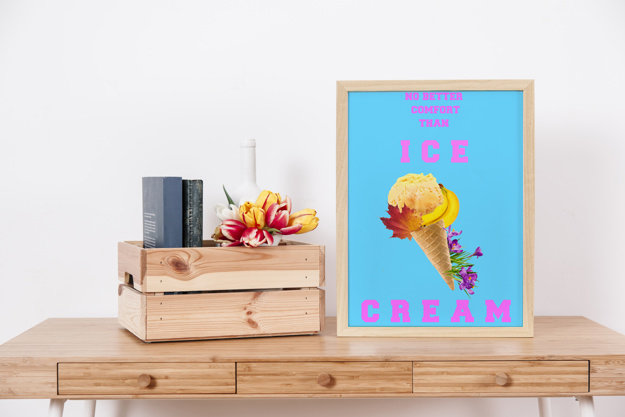 Quirky Spring/ Summer Floral Ice Cream/Digital Printable/Kitchen/Home/Cafe Decor/ Wall Art Ice Cream Quote/Gift for Her by QuirkyArtPlace