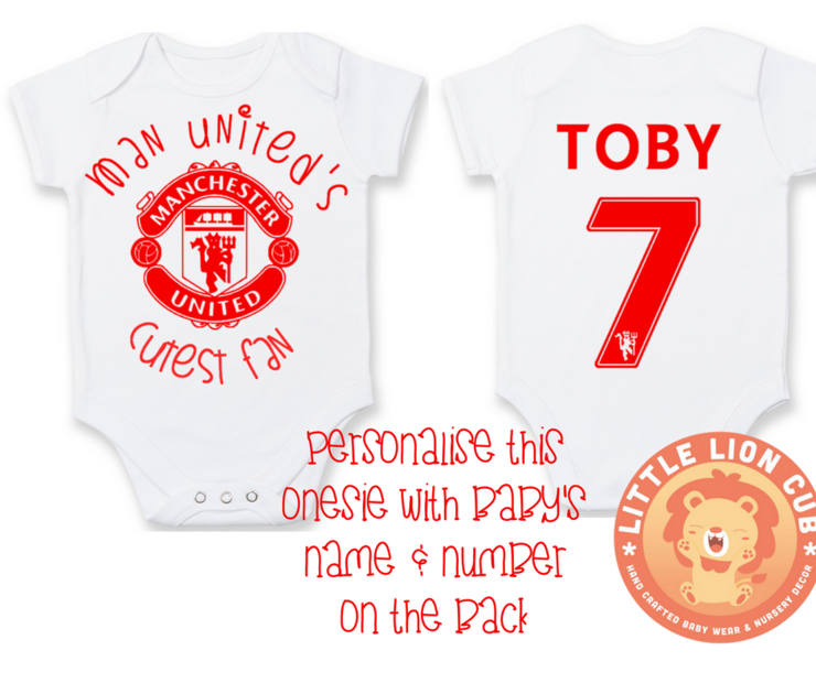 a3be4e4cb PERSONALISED MANCHESTER UNITED Baby Grow with NAME  amp  NUMBER Manchester  United  039