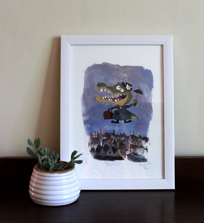 Mary Croccins, Childrens Room Art, Fine Art Print, gouache illustration by Terrapin and Toad
