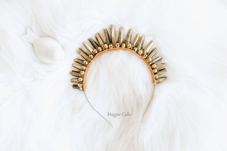 Stephanie Gold Crystal Quartz Upright Crown by Magpie Calls