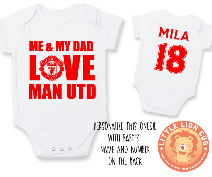 9322891d9493 PERSONALISED MANCHESTER UNITED Baby Grow with NAME & NUMBER/Me & My  Dad