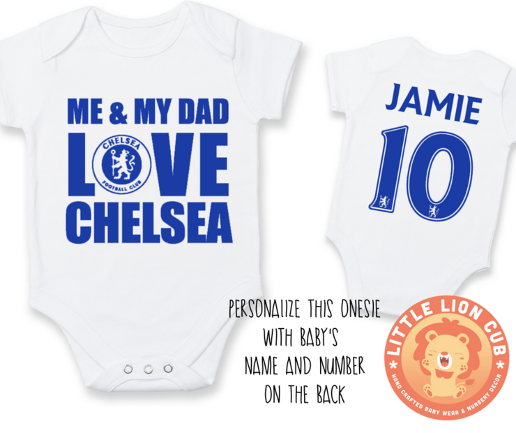 online store 40039 3855d PERSONALISED CHELSEA FC Baby Grow with NAME & NUMBER/Me & My Dad Love  CHELSEA Onesie/ Bodysuit/ Body vest / Baby Clothes/Father's Day