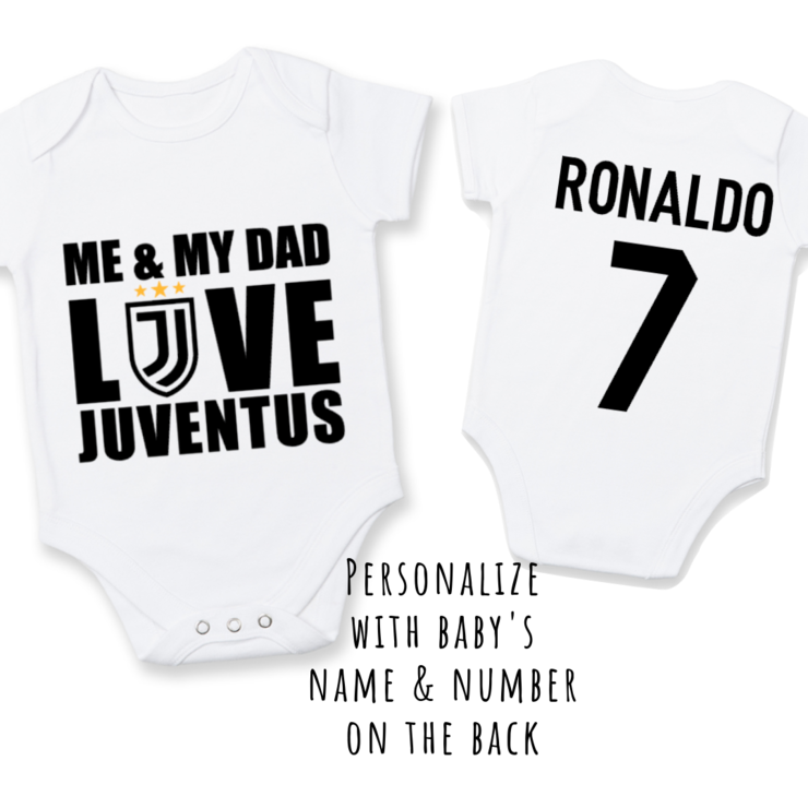 online retailer 42d07 44466 PERSONALISED JUVENTUS Baby Grow with NAME & NUMBER/Me & My Dad Love  Juventus / Juventus Onesie/ Bodysuit/ Body vest / Baby Clothes / Baby Shower