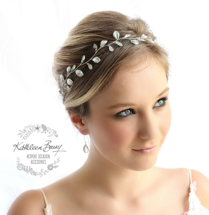 Silver leaf hair vine, Wedding Bridal hair accessories wreath - Custom colors to order STYLE: Jaune silver by Kathleen Barry Bespoke Occasion Accessories