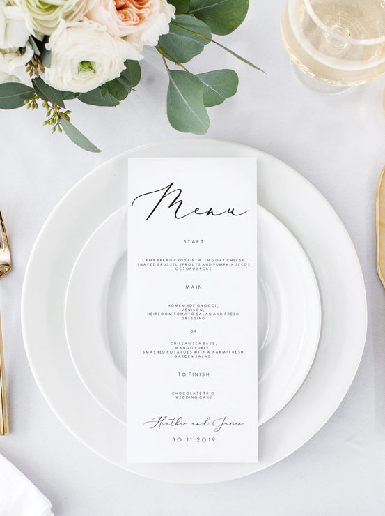 Elegant Wedding Menu Wedding Menu Template Minimalistic Menu Cards Menu Printable Dinner Menu Editable Menu Instant Download Minimal Simple by Make Me Digital