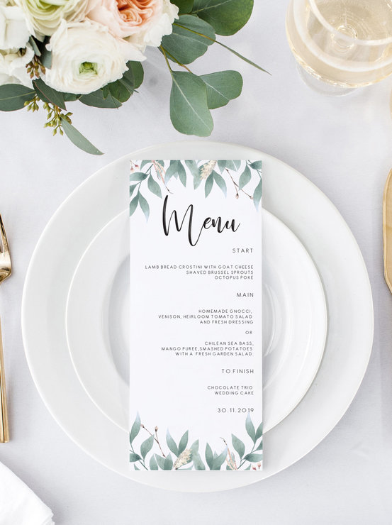 Wedding Menu Template.Floral Greenery Wedding Menu Wedding Menu Template Eucalyptus Menu Cards Menu Printable Dinner Menu Editable Menu Instant Download Minimal
