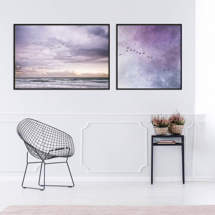 Mesmerized by the Ocean Print Set | 40x40cm & 40x60cm | Collection 1 | Wall Art Home Decor | Beach | Seas | Waves | Clouds | Sunset | Birds Flying | Purple | Blue | Skies by Sonny Mo Arts
