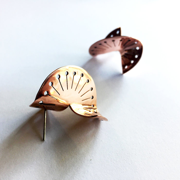 TWISTED DANDELION Stud Earrings in Brass/Copper (Medium) by Miss H Jewellery Design