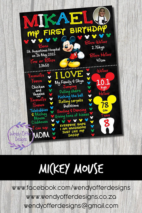 purchase cheap 50890 dde7f Mickey Mouse 1st Birthday Chalkboard Design by Wendy Offer Designs