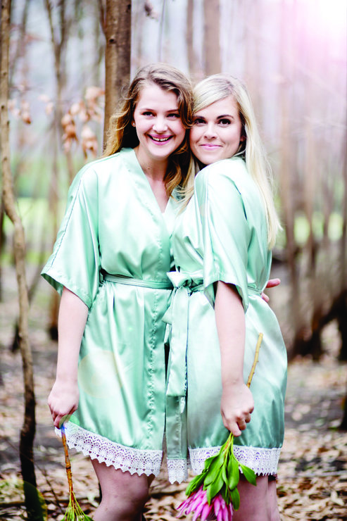 Bottom lace satin robe - mint by Vows