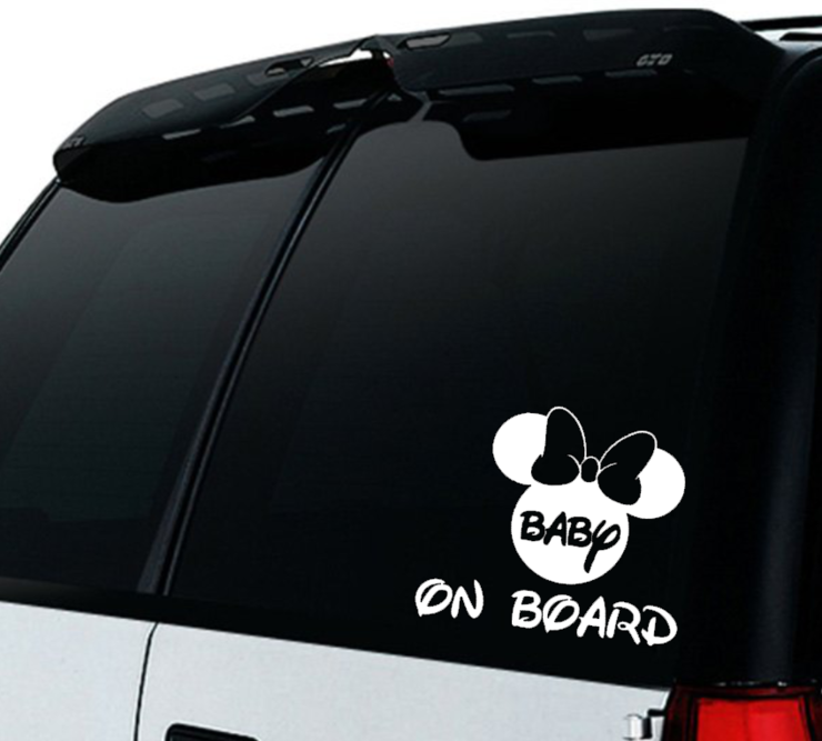 Minnie Mouse Baby on Board Car decal Sticker / Minnie Mouse Baby on board/ Car decal   by Little Lion Cub Studio
