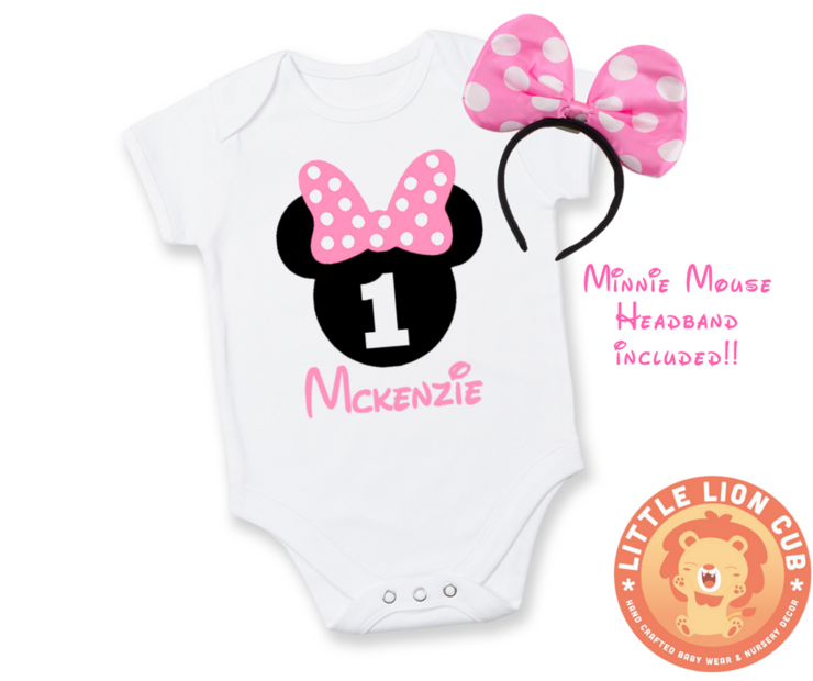 Minnie Mouse 1st Birthday Outfit.Personalised Minnie Mouse First Birthday Outfit 1st Birthday Minnie Mouse Baby Grow Baby Birthday Outfit Minnie Mouse Pink Bow