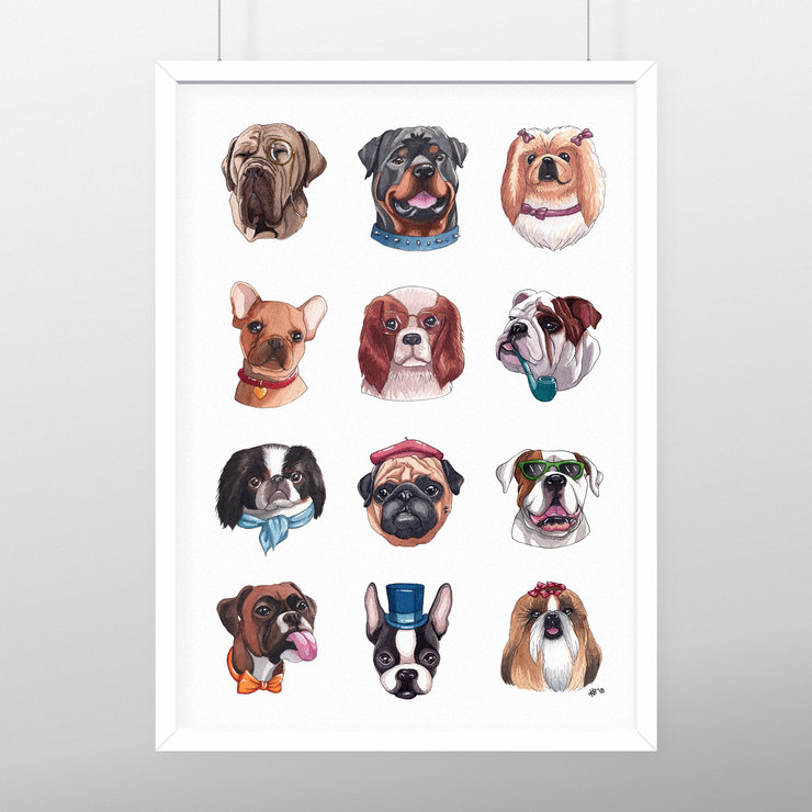 The Squishy Face Dog Crew - A4 Print by minikiki art