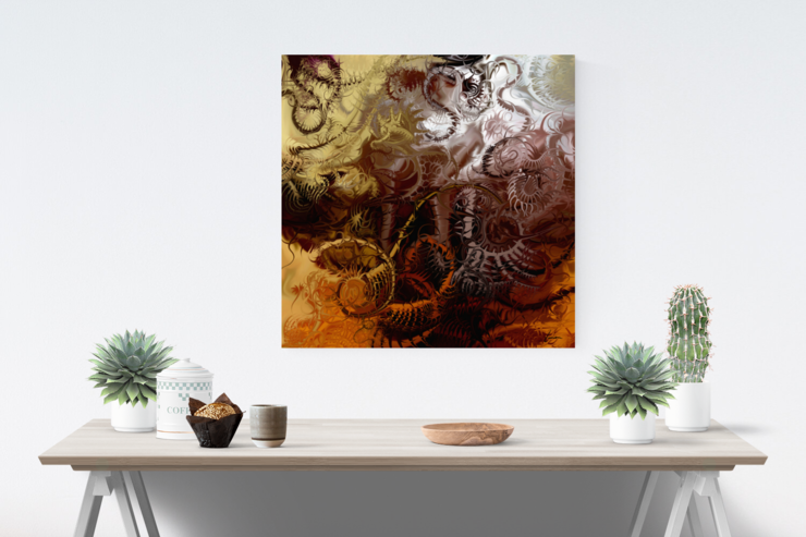 Energy Healing Wall Art | Matt Satin Canvas Print | 45cm Square | Grounding | Earthy | Neutral-toned by Artful Contemplation
