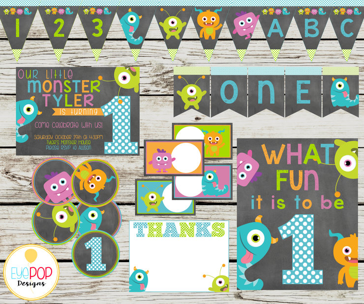 LITTLE MONSTER Party Printable Package, Birthday, Little Monster Birthday, Party Decorations, Chalkboard, Printables, Invitation + More! by EyePop Designs