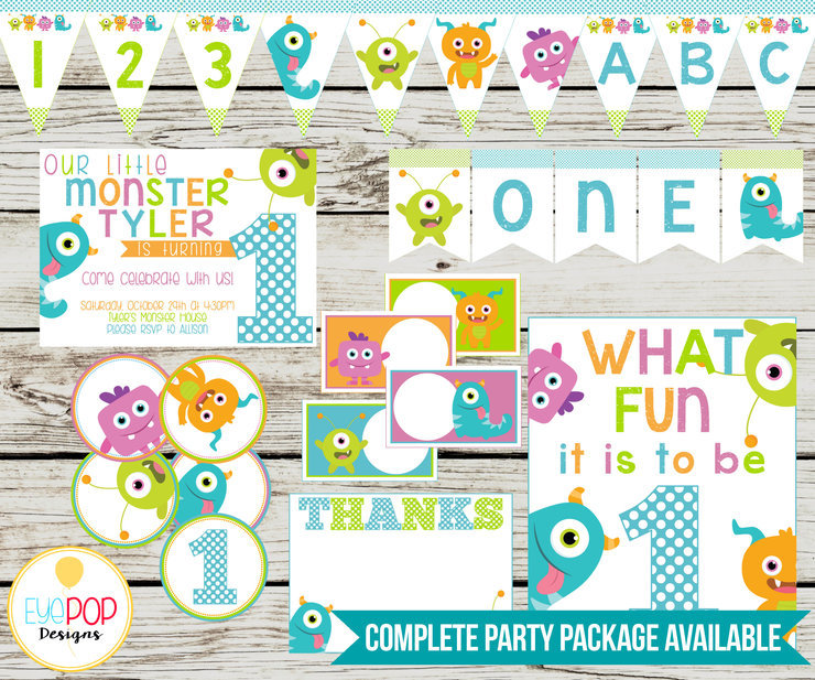 image about Printable Decorations identify Tiny MONSTER Celebration Printable Package deal, Birthday, Small Monster Birthday, Celebration Decorations, White, Printables, Invitation + Extra!