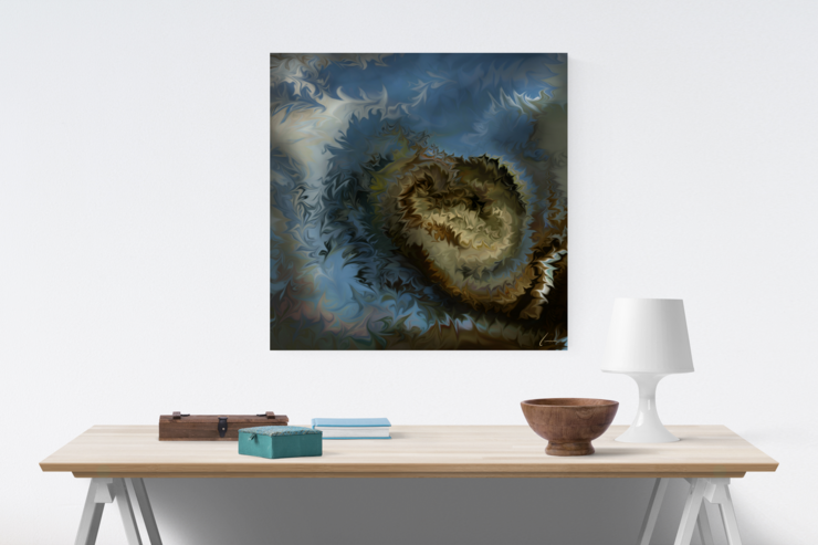 Soothing Energy Healing Art | Nature-inspired Blue & Grey Matt Satin Canvas Print | 45cm Square  by Artful Contemplation