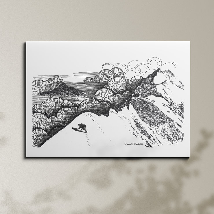 Mountain in the sky - A3 by Art From Adventures