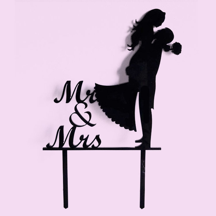 Mr & Mrs Silhouette Cake Topper (Acrylic or wood) by Polkadot Box
