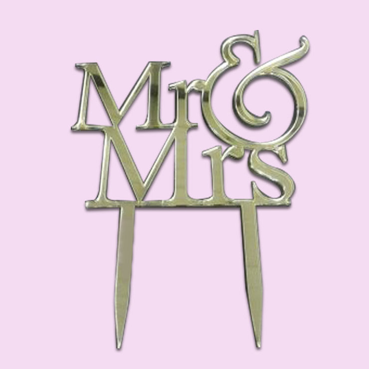 Mr & Mrs Cake Topper (wood & Acrylic) by Polkadot Box