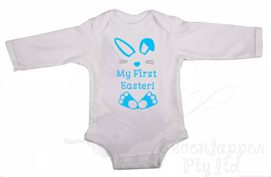 My First Easter Bunny Long Sleeve Babygrow by Skoenlapper Pty Ltd