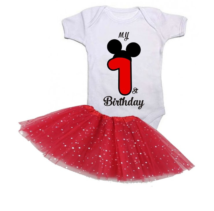 My first birthday mouse ears with red tutu by Qtees Africa (Pty)Ltd