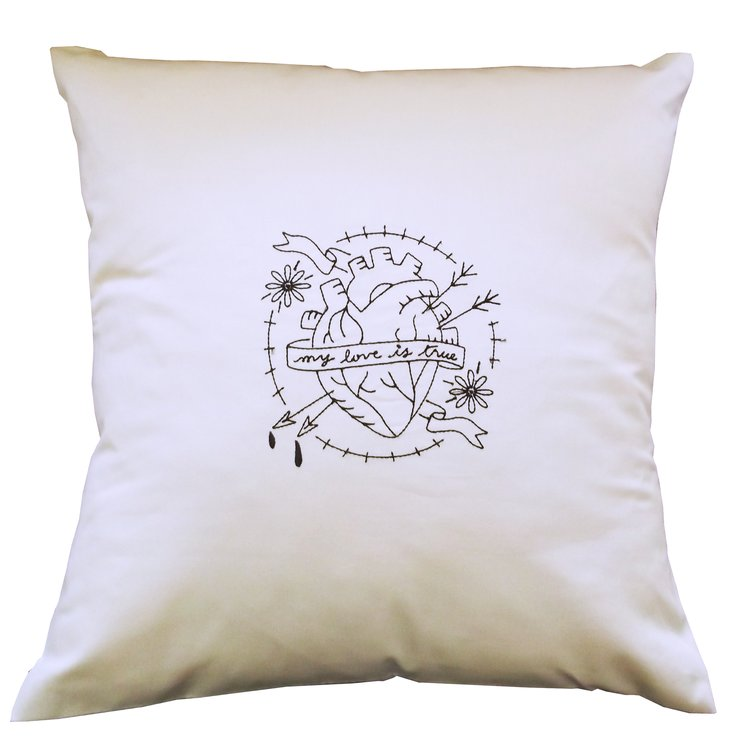 My Love is true embroidered cushion cover by Pillow Talk