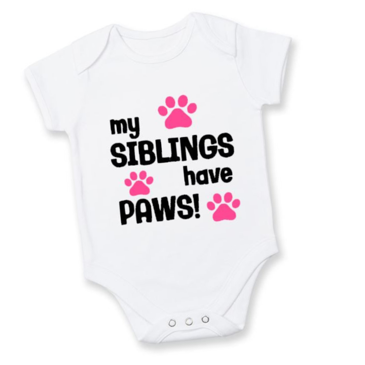 My siblings have Paws baby grow/ Pink /Baby Girl /Baby Shower Gift / New baby  by Little Lion Cub Boutique