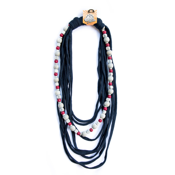 (N0034) Wooden Grey/Red Bead & Navy Fabric Necklace by Cherries & Tjommies