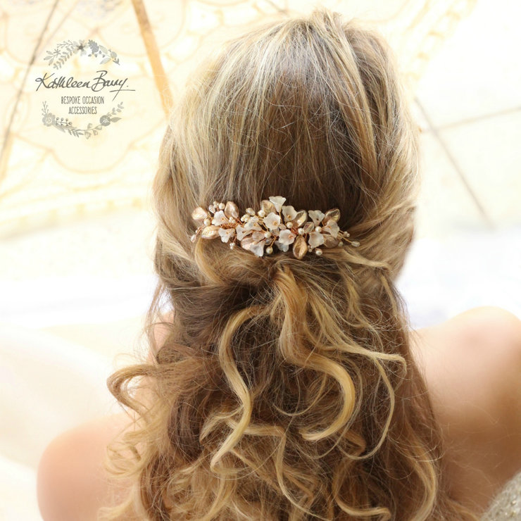 Rose gold floral leaf hairpiece bridal hair comb wedding accessories STYLE  Nadine