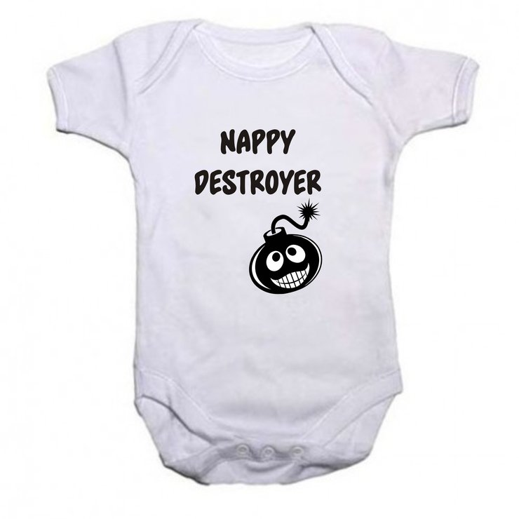 Nappy Destroyer baby grow by Qtees Africa (Pty)Ltd