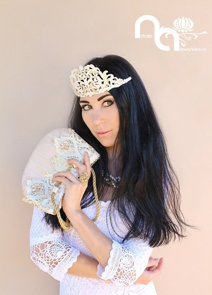 "Wedding / Masquerade crown ""Creamy Queen"" by Accessories by Natalia Alexandrova"