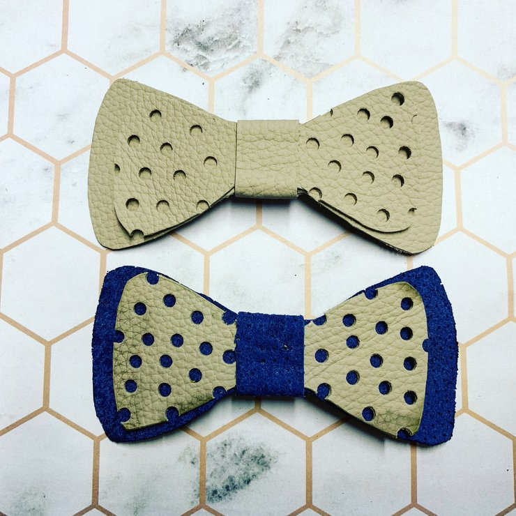 Navy and Cement Leather Bows  by Ginger Grey