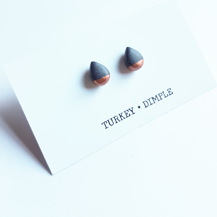 Navy Copper Dipped Studs by turkey dimple